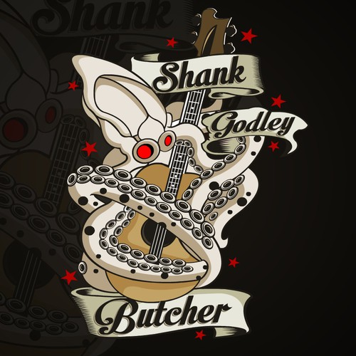 Guitar logo with the title 'Shank Godley Butcher Cover Album'