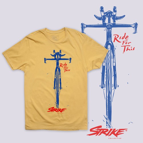Rustic t-shirt with the title 'STIKE - Raw Line Style Bicycle Illustration.'