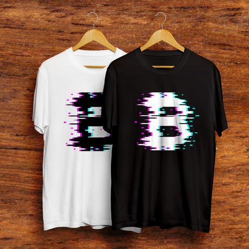 Cryptocurrency t-shirt with the title 'Glitchy Bitcoin'