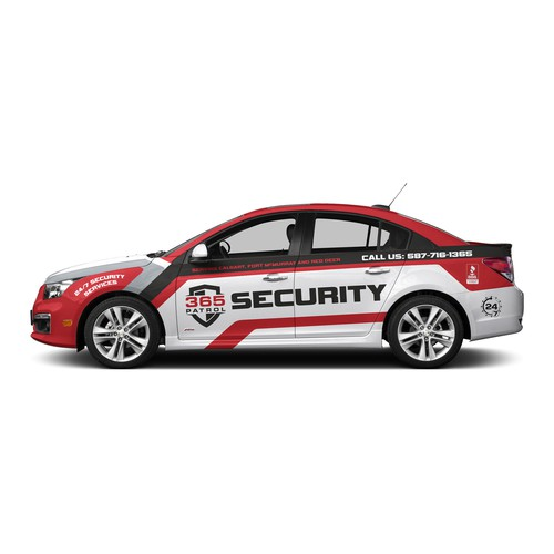 Vehicle graphic design with the title 'Vehicle wrap design for a Security Guard Company'
