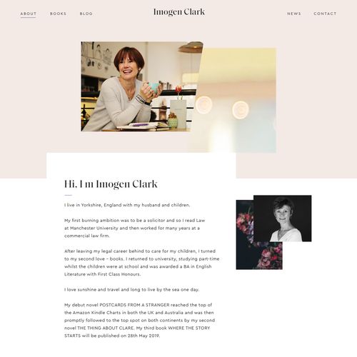 Author website with the title 'Website for author Imogen Clark'
