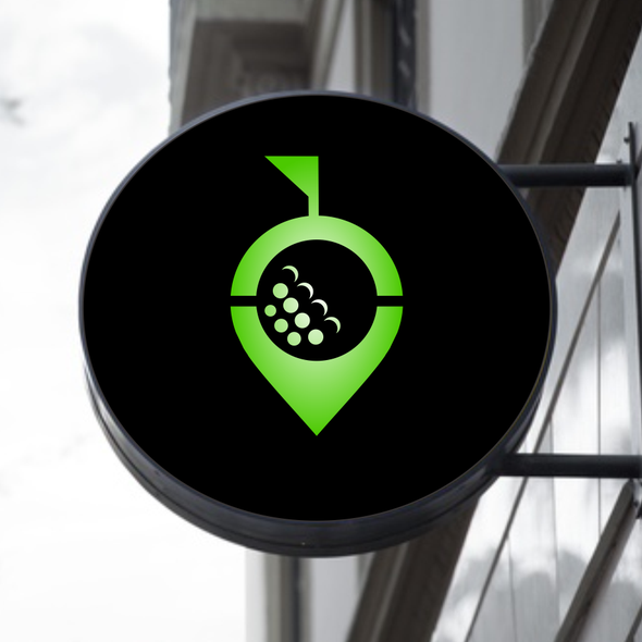 Golf ball design with the title 'The Swing Factory Logo | Golf Logo | Restaurant logo | Golf Flag | Golf Brand | Order Golf Logo'