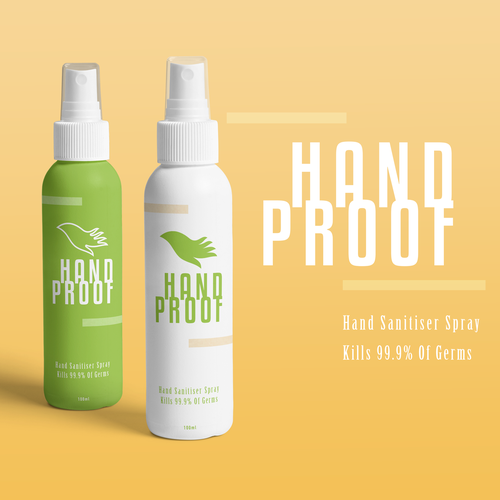 Identity packaging with the title 'Modern Hand Sanitiser Spray brand'