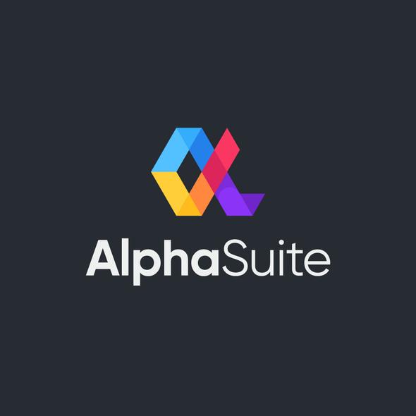 Alpha design with the title 'Logo Designs for AlphaSuite'