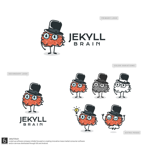 Top hat design with the title 'Brain Mascot logo done for a innovative consumer software startup'