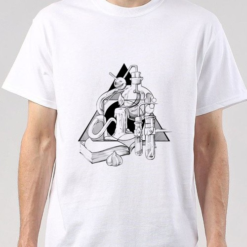 Black and white t-shirt with the title 'Kitchen Alchemy'