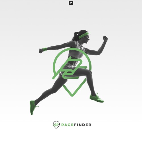 Running logo with the title 'Modern logo for Race Finder app'