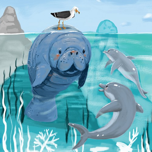 Kids book illustration with the title 'Manatee and friends'