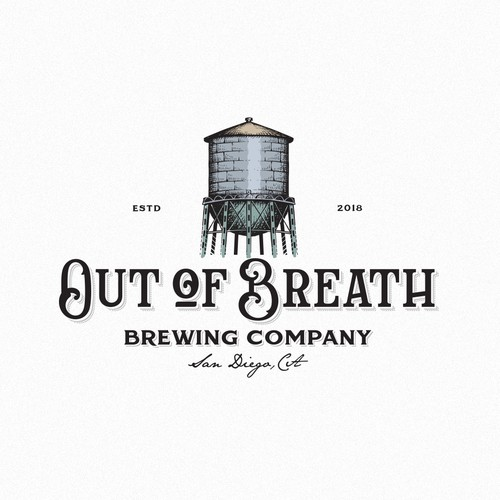 Alcohol logo with the title 'Out of Breath Brewing Co.'