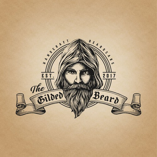 Beard logo with the title 'Bold vintage logo for The Gilded Beard'