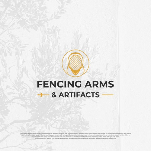 Gold line logo with the title 'Fencing Arms Logo'