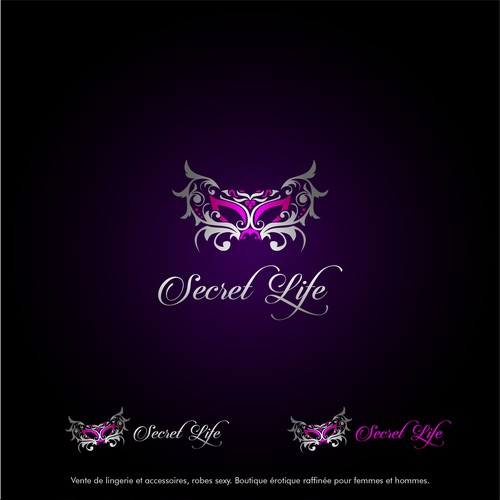 Gold and pink logo with the title 'exotic and elegant logo for Secret Life'