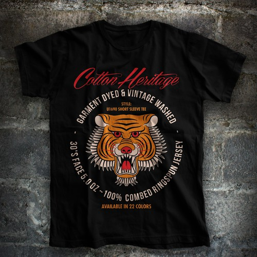 Tiger t-shirt with the title 'old school tiger'