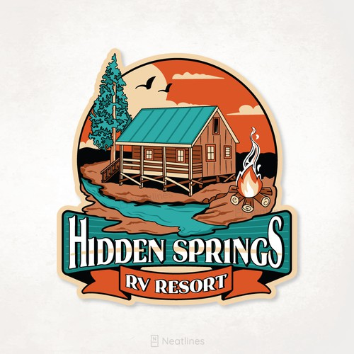 Hand-drawn logo with the title 'Hidden Springs Tee '