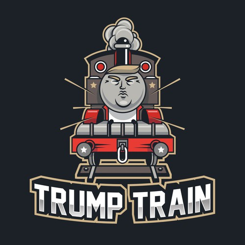 Train design with the title 'Trump the Train Engine'