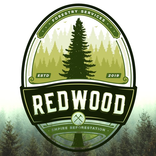 Emblem brand with the title 'Redwood Empire Reforestation'