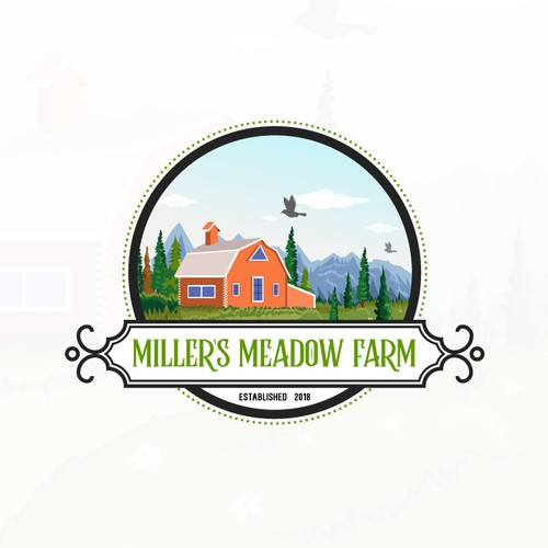 Farmhouse design with the title 'Millers Meadow Farm Logo Design'