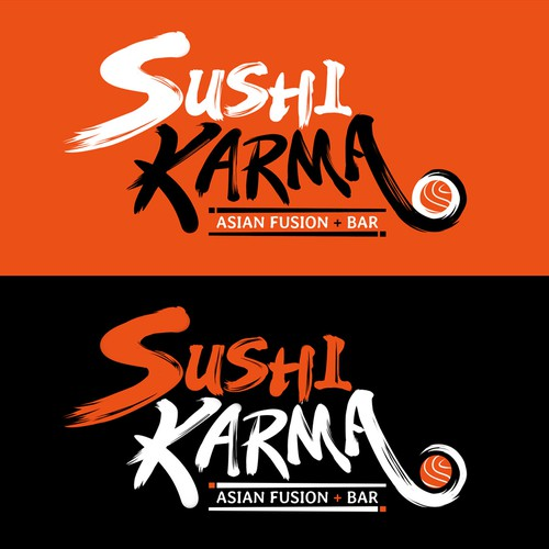 Chinese food design with the title 'Asian calligraphy logo design for Sushi restaurant'