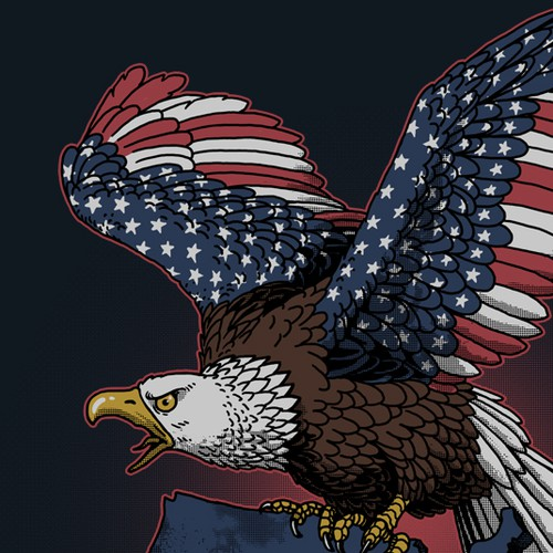 Patriotic t-shirt with the title 'USA'