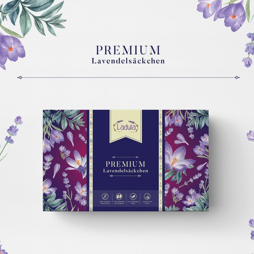 Fragrance design with the title 'Cotton Lavender Bags Packaging design'