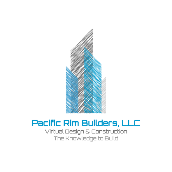 Building logo with the title 'Pacific Rim Builders - Virtual Design & Construction'