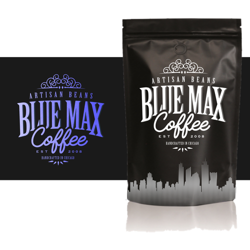 Handmade packaging with the title 'coffee package label with Chicago skyline '