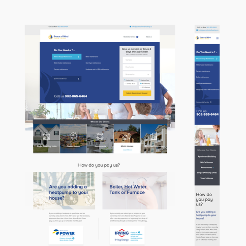Company website with the title 'Peaceofmind heating website'