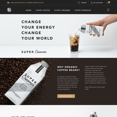 Product website with the title 'Product page for coffee brand'