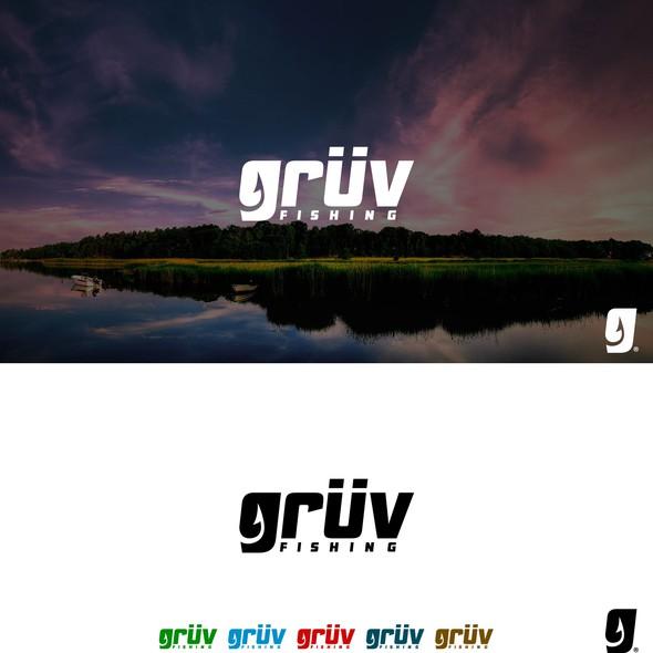 Fishing hook logo with the title 'Logo for Grüv Fishing'