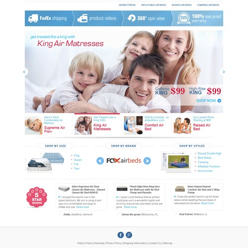 Mattress design with the title 'Website design for AirMattress.com'