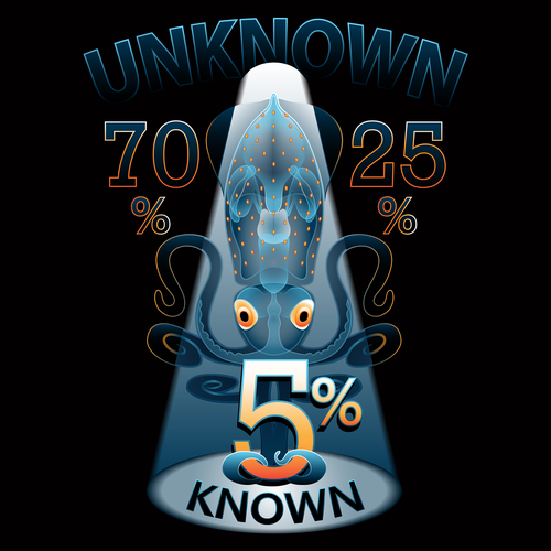 Science t-shirt with the title 'Tshirt Design to represent unknown knowledge of the universe'