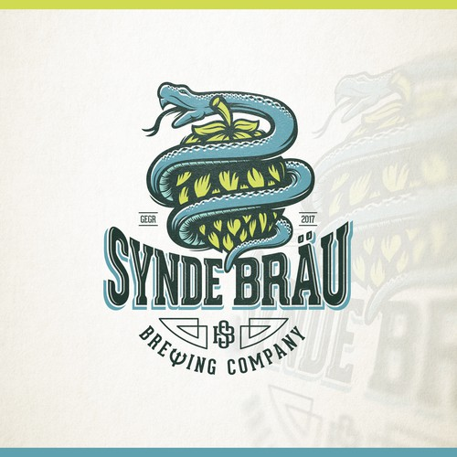 Brewery logo with the title 'Creative logo for Synde Bräu - Sin Brew'