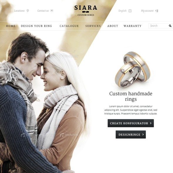 Lovers design with the title 'Avant-garde Webdesign for a Wedding-Ring configurator'
