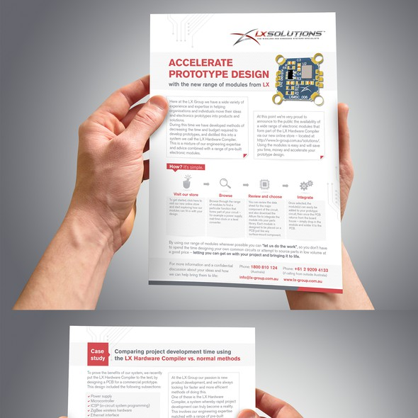 Prototype design with the title 'Brochure Technology Design'