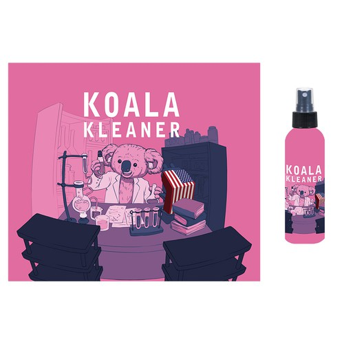 Pink label with the title 'Koala Kleaner'