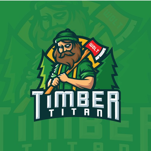 Lumberjack logo with the title 'Sport Logo Concept for Timber Titan'