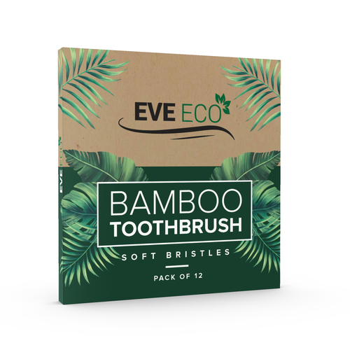 Bamboo packaging with the title 'EveEco - Bamboo toothbrush Box Design'