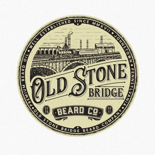 Beard design with the title 'Old stone bridge beard company'