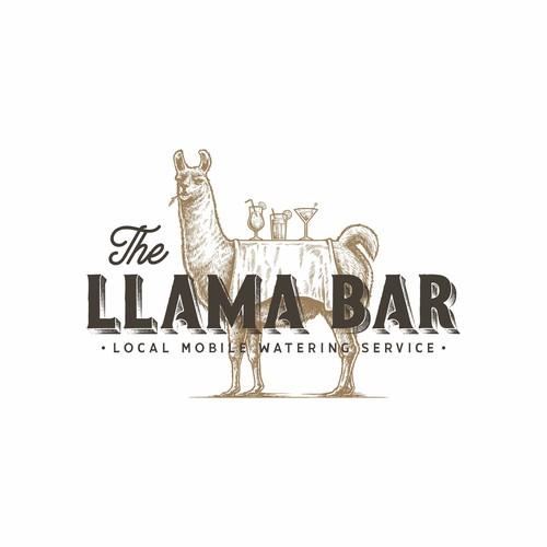 Llama design with the title 'Vintage hand-drawn logo for The Llama Bar'