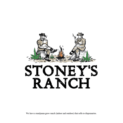 Marijuana leaf logo with the title 'Vintage logo design for Cannabis Ranch'