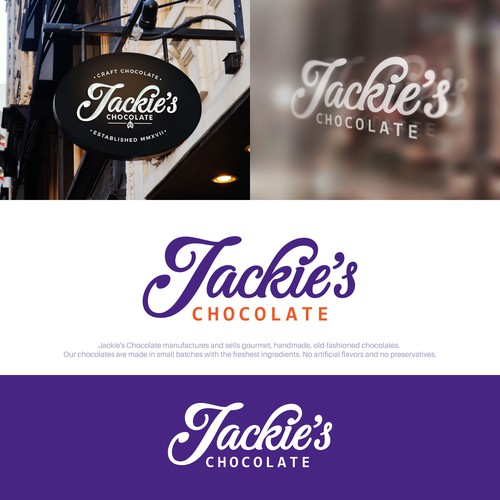 Chocolate logo with the title 'Logotype for Jackie's Chocolate.'