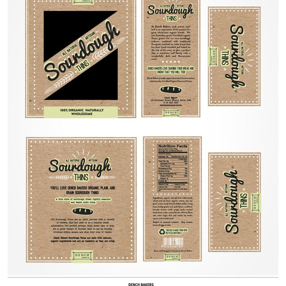 Bakery packaging with the title 'Dench Sourdough Thins packaging'