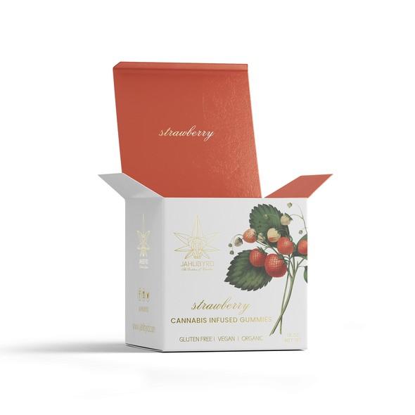 Gold foil packaging with the title 'Sleek and Chic Organic Cannabis Edible Box'