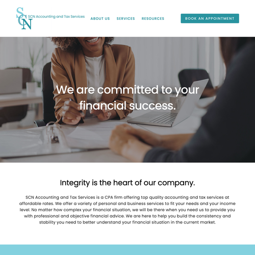 Accounting website with the title 'SCN Accounting'