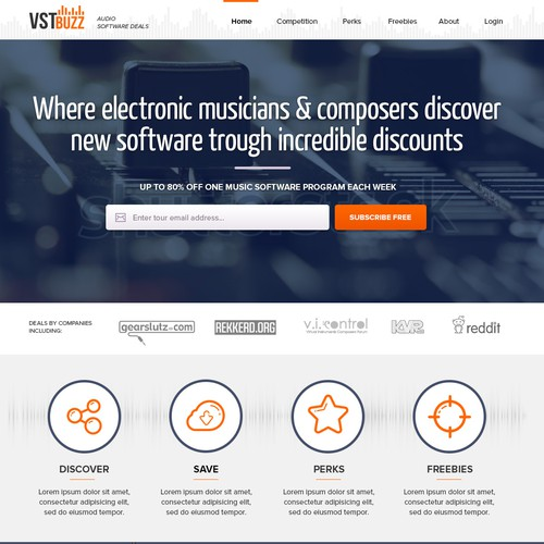 Musician design with the title 'Design a sleek and beautiful music software website'