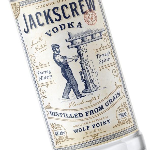 Distillery design with the title 'Jackscrew Vodka'