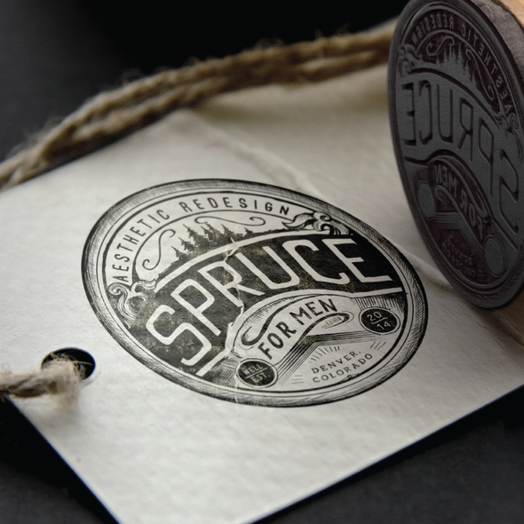 Emblem brand with the title 'Spruce - Aesthetic Redesign for Men'