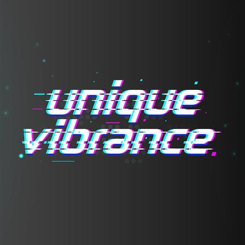 Glitch logo with the title 'Unique Vibrance'