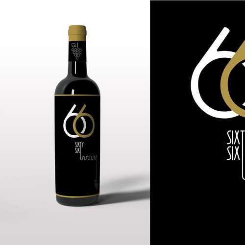 Wine illustration with the title '66 Wine - bottle design '