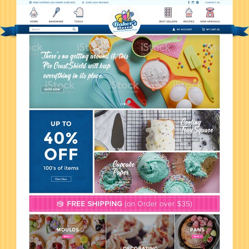 Bright color design with the title 'Baker's Dozen website layout and design'
